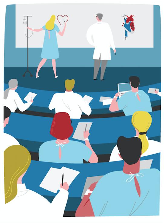 Illustrations Arnaud Tracol @Des médecins apprennent à devenir « patients », tandis que des patients se forment à la médecine.