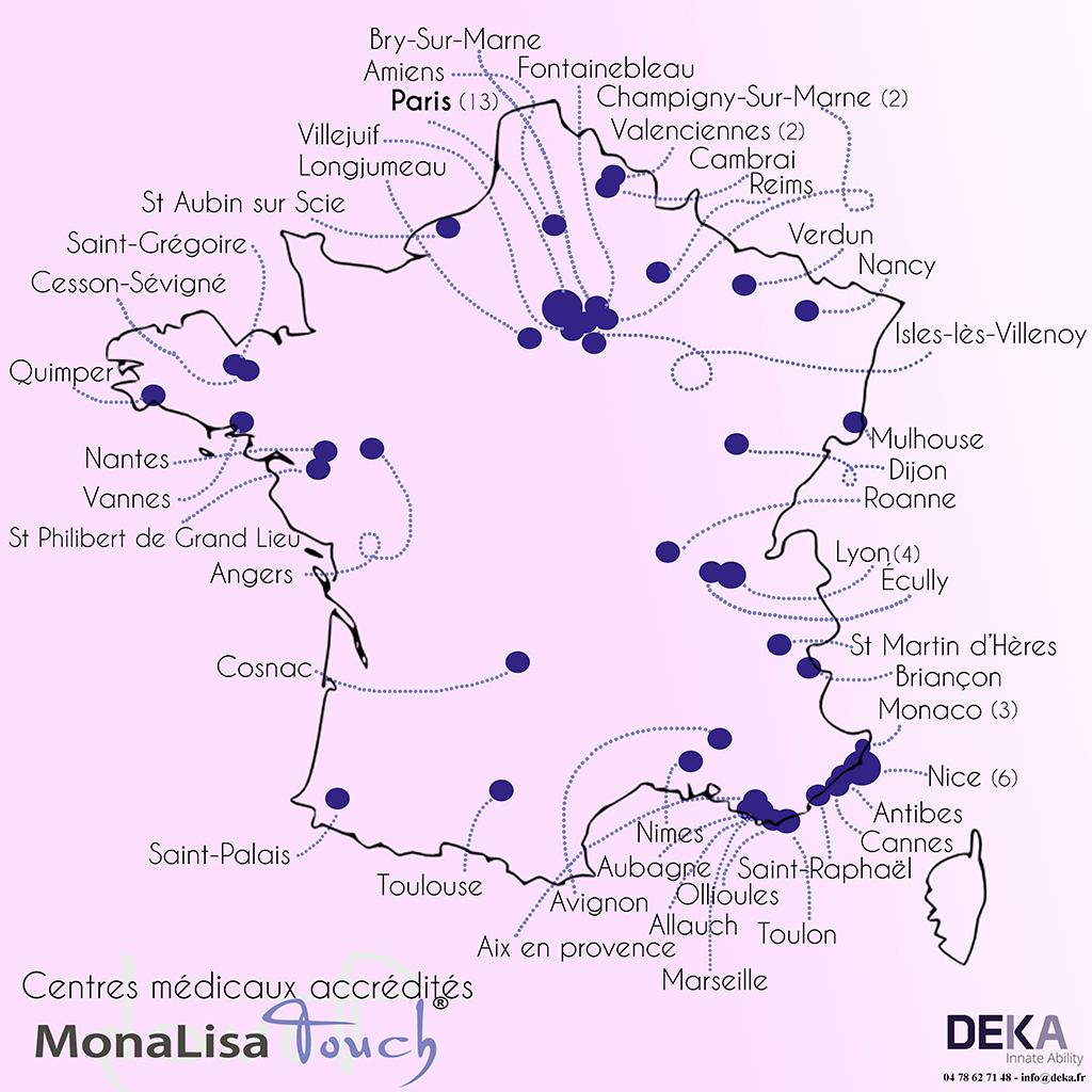 Carte des centres médicaux accrédités pour le MonaLisa Touche - roseup association face aux cancers osons la vie